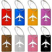 Etiqueta para equipaje,Travel Bag Etiquetas de equipaje (8 Pack) ID Etiquetas de dirección para bolsos de la maleta Etiquetas fuertes de aluminio con cables de bloqueo