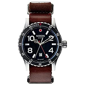 Nixon Herren-Armbanduhr XL Diplomat Black / Brown Analog Quarz Leder A269019-00