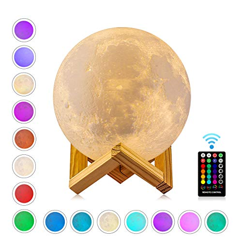 Mondlampe, GDREAMT 16 Farben 3D Mond lampe 15 cm, Remote & Touch Control/Timing-Funktion/Dimmbar/...