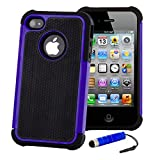 32nd ShockProof Series - Dual-Layer Shock and Kids Proof Case Cover for Apple iPhone 4 & 4S, Heavy Duty Defender Style Case - Deep Blue