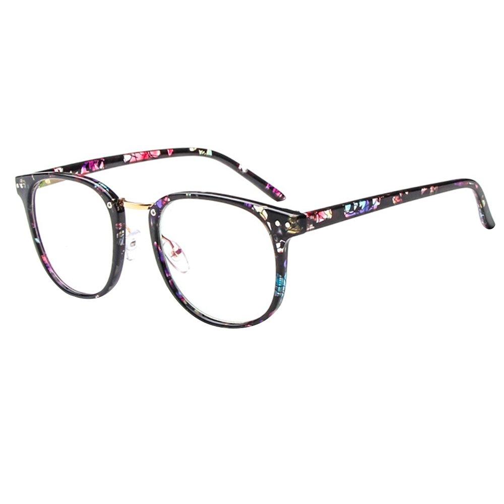 Forepin® Montura para Gafas de Vista Hombre y Mujer Antiguas Grandes Vintage Visión Clara Glasses Cristal Lente Transparente - Flores Negras Retras