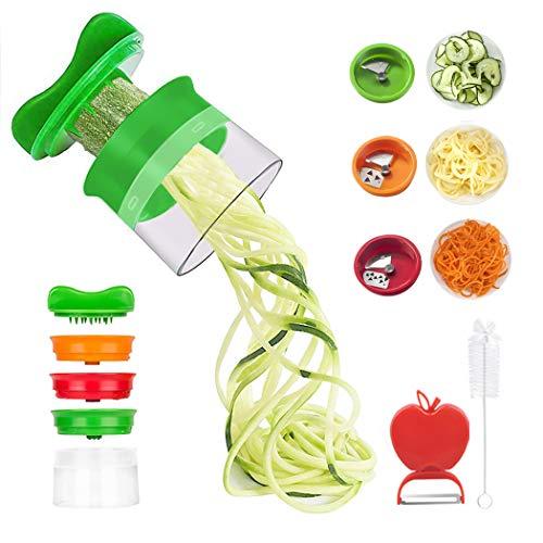 Cinati Coupeur de légumes Coupe-Spirale Râpe à légumes à la Main avec 3 Couteaux pour Carottes/concombres/Pommes de Terre/citrouilles/courgettes [Inclut Une Brosse de Nettoyage et Un éplucheur]