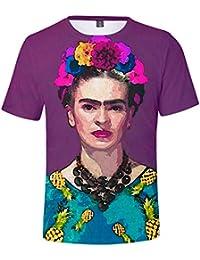 ZIGJOY Frida Kahlo 3D Impreso Camisa Moda O-Cuello Top Camisetas para  Hombres y Mujeres 3335827c7d45d