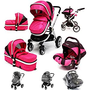i-Safe System - Raspberry (Pink) Trio Travel System Pram & Luxury Stroller 3 in 1 Complete With Car Seat + Rain Covers