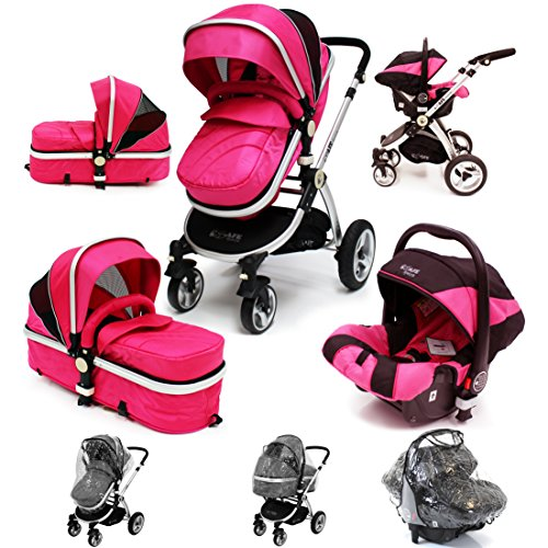 i-Safe System – Raspberry (Pink) Trio Travel System Pram & Luxury Stroller 3 in 1 Complete With Car Seat + Rain Covers 51kOGMX2PrL