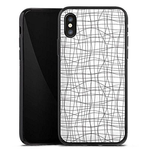 Apple iPhone X Silikon Hülle Case Schutzhülle Doodle Linien Pattern Silikon Case schwarz
