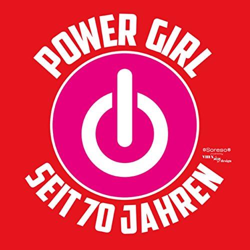 Geschenk für Frauen zum 70. Geburtstag Damen T-Shirt als Geburtstagsgeschenk Oma Großmutter Power Girl seit 70 Jahren für Powergirl Motiv: Power KnopfFarbe: rot Rot