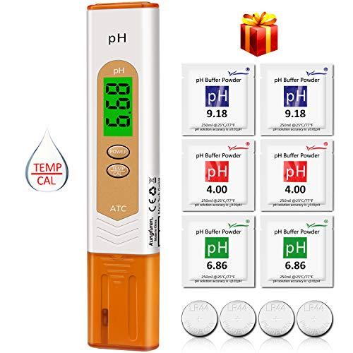 Temperatur-messgerät Tester (pH Messgerät, kungfuren Aufgerüstet pH Wert Messgerät Digital pH Temperatur Messgerät Tester für Aquarium,Wasser, Pool,Urin, Hydrokultur, Labor, Gartenarbeit und Spas)