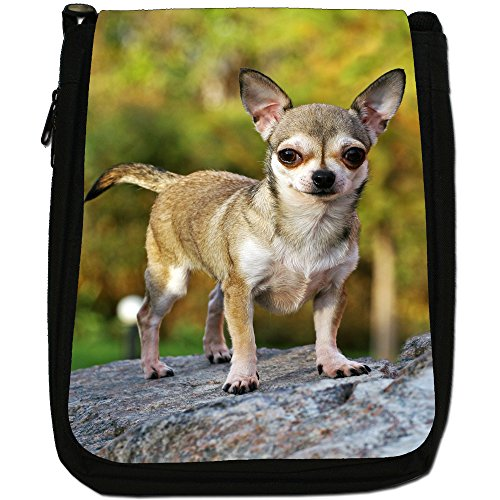 Chihuahua messicano taco Bell cane medio nero borsa in tela, taglia M Chihuahua Standing On Rocks