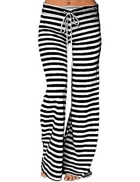 QBQLas mujeres Palazzo pantalones,casuales de las mujeres pantalones anchos de la pierna acampanada elástico...