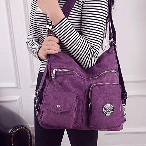 Outreo Borsetta Ragazza Borse a Spalla Griffate Borsa Tracolla Donna Zaino Impermeabile Borse da Viaggio Sacchetto Messenger Bag per Sport Tasche Viola