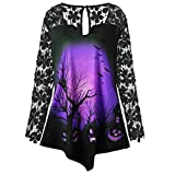 MIRRAY Damen Sommer Frühling Herbst Halloween Kürbis Spitze Patchwork Asymmetrische T-Shirt Tops Bluse