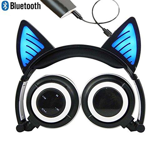 Bluetooth MIC Wiederaufladbare Wireless Headsets Katze Ohr faltbar einstellbare Flash Blue Light Kopfhörer für iPhone 7 / 6S / iPad, Android Handy, Macbook(Schwarz)