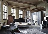 Schlafzimmer im Industrial-Print-/graphit-Dekor, 5-trg. Kleiderschrank, Bett B: 180 cm, 2 Nachtschränke B: je 55 cm