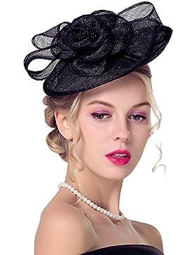 deevoov Sinamay Alice diadema tocado de plumas de flores boda Headwear Ladies Carrera Royal Ascot pastillero Cocktail...