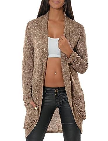 Damen Cardigan Strickjacke Pullover (weitere Farben) 13367, Größe:One Size;Farbe:Khaki