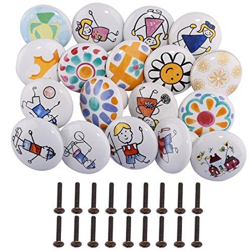 Giplar 10 Karikatur Keramik-Türgriffe, Mix aus Keramikknäufen im Vintage-Look,Griffe für Türen, Schränke, Schubladen (Tür Kinder Schrank Knöpfe)