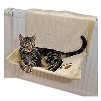 Ducomi Warmy - Niche Chat Radiateur - 46 x 32 cm - Hamac pour Chiots et Chats jusqu'à 5 kg - Lit à Suspendre au Radiateur avec Souple et Chaud Couverture Housse Amovible et Lavable (Beige)