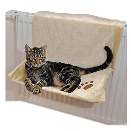 Ducomi warmy - cuccia gatto termosifone - 46 x 30 cm - amaca da calorifero per cuccioli e gatti fino a 5 kg - letto da appendere al radiatore con coperta felpata - fodera removibile e lavabile (beige)