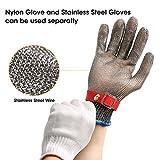 Schnittschutzhandschuhe, GOCHANGE Lebensmittelecht Schnittfeste Handschuhe, Sicherheit aus Edelstahl Metallgewebe Handschuh - 6