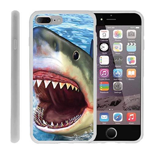 turtlearmor | Kompatibel für Apple iPhone 7Plus Schutzhülle | (14cm) [Flexible Armor] Flexibler TPU Rückseite Schutzhülle Slim Soft Cover Bumper Sea Ocean Design -, Shark Attack (Iphone Virgin Mobile-handys 4)