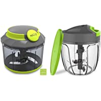 Home Puff Stainless Steel 3 Blade System Chopper& Blender with Whipping Blade, 1000 ML (Grey) & Plastic 5 Blades Vegetable Chopper with Storage Lid, 900ml Combo