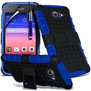 i-Tronixs (blau) Huawei Ascend Y550 hülle hohe Qualität Starke und haltbare Survivor Hard robuste Stoßfest Heavy Duty bei zurück Stand Skin Case Cover& Screen Protector