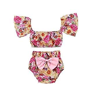 Wang-RX Summer Baby Girl Off-Shoulder Floral Vest Tops+Shorts Pp Bowknot Bebe Girls Cotton Fashon Clothes 2Pcs Set Red