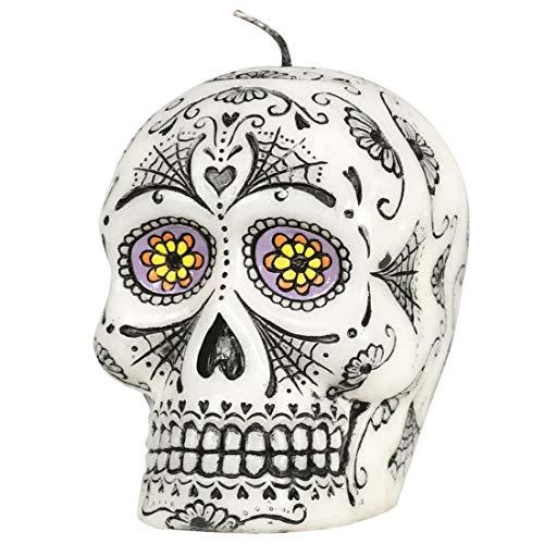 Amakando Originelle Sugar Skull Kerze / 10 cm / Dekoration Tag der Toten / Perfekt geeignet zu Tag der Toten Partys & Gruselpartys