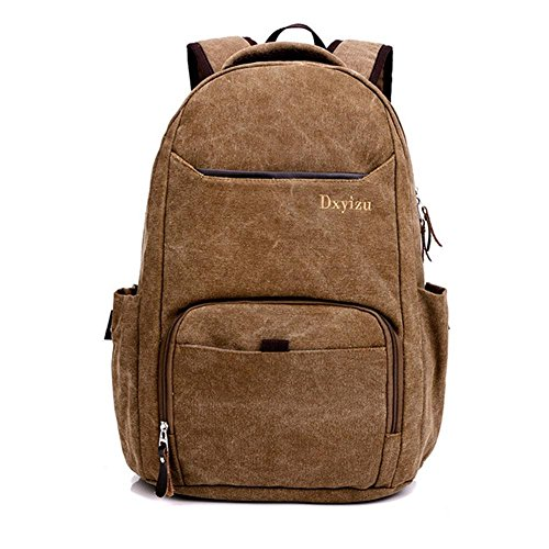 Rucksack 50L High Capacity Laptop Tasche Retro Leinwand Student Sport Outdoor Rucksack brown