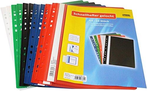 Idena 307862 - Schnellhefter A4 gelocht, aus Kunststoff, 50 Stück, 5 Farben, 10 x...