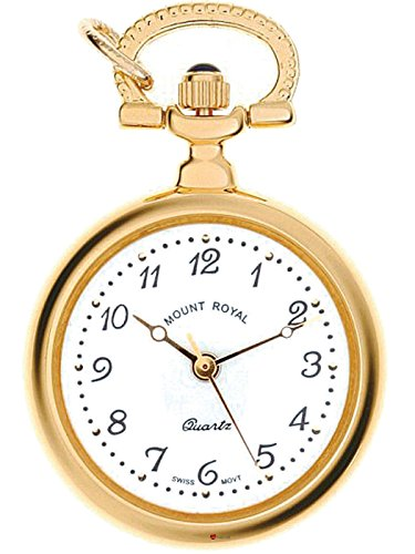 Classic Pendant Fob Watch Open Face Round Gold Finish Quartz with Chain - Gift (Gold Open Face Taschenuhr)