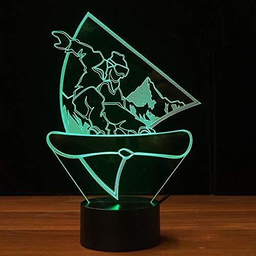 Neuheit Snowboarden 3D LED Nachtlicht USB Visuelle Tischlampe Lampara Baby Schlaf Leuchte Schlafzimmer Nacht Wohnkultur Geschenke
