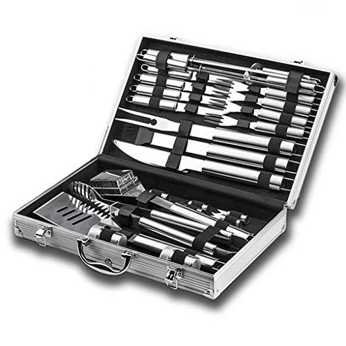 DYV BBQ-Werkzeugset ,26-TLG Barbecue-Grill-Set Extrastarkes Edelstahl-Geschirr mit Aufbewahrungskoffer aus Aluminium,für Barbecue im Freien, gebratener Fisch, Pfannenrühren