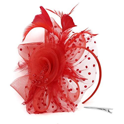 YWLINK 1920er Jahre ZubehöR Stirnband Klassisch Fascinators Hut Blume Mesh BäNder Federn Auf Einem Stirnband Cocktail Tea Tanzparty Party Retro Headwear FüR MäDchen Und ()