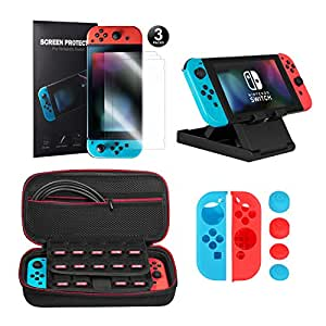 Younik Kit accessori 10 in 1 per Nintendo Switch, include Custodia da trasporto per Nintendo Switch / Grip per Joy-Con / Supporto regolabile / Pellicola Protettiva HD (confezione da 3)
