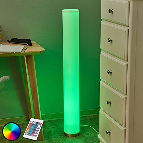 LED Stehlampe 'Mirella' dimmbar mit Fernbedienung (Modern) in Weiß aus Kunststoff u.a. für Wohnzimmer & Esszimmer (1 x 3 W RGB-LED, GU10, A) von Lampenwelt | Stehleuchte, LED-Stehlampe