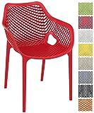 CLP XL-Bistrostuhl AIR aus Kunststoff I Stapelstuhl AIR mit Einer Sitzhöhe von 44 cm I Outdoor-Stuhl mit Wabenmuster I In Verschiedenen Farben erhältlich Rot