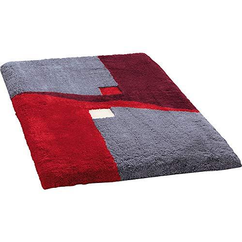 Erwin Müller Badematte, Badteppich, Badvorleger rutschhemmend rot Größe 50x80 cm - kuscheliger Hochflor, für Fußbodenheizung geeignet (weitere Größen)