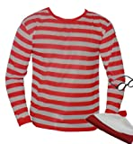 Nerd Red White Stripe Top T Shirt XL Plus Geek Hat And Glasses (disfraz)