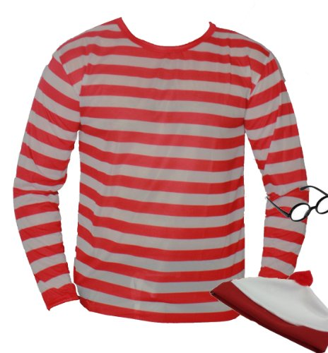 Nerd Red White Stripe Top T Shirt XL Plus Geek Hat And ()