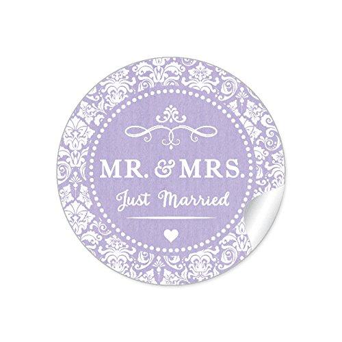 """24 STICKER:\""""MR. & MRS. - Just Married\"""" Schöne Hochzeitsaufkleber im\""""Shabby Chic gestreiften Packpapier Retro Look\"""" zur Hochzeit mit Ornamenten und Herz • Etiketten: 4 cm, rund, matt in Lila"""