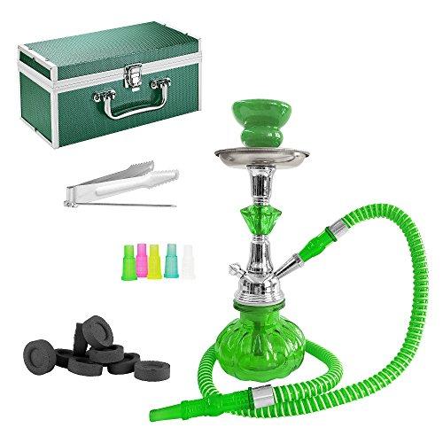 Mianova® Orientalische Shisha Hookah 25cm Wasserpfeife im Koffer Set inkl. Kohle, 5 Mundstücke und Zange Grün