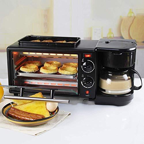 Frühstück-Sets 3 in 1 Backofen,9L Familienfrühstück MachineElektro-Ofen, 600 ML Kaffee-Pot für Toast Omelette, Backöfen Temperaturregelung 100-230°C,Umluft,30 min Timer 1 Frühstück-set