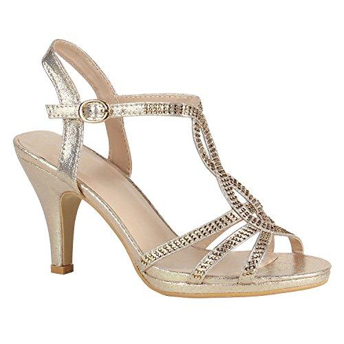 Damen Riemchensandaletten Sandaletten High Heels Glitzer Schuhe 156060 Gold Strass 38 Flandell
