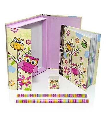 Mousehouse Gifts Caja mediana con juego de libreta y objetos de escritorio con decoración de búhos