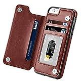 iPhone 6s Plus Case, iPhone 6 Plus Case, HOMFON Slim Fit Premium Leather iPhone 6 Plus Wallet Casae Card Slots Shockproof Folio Flip Protective Defender Shell for Apple iPhone 6/6s Plus - Brown