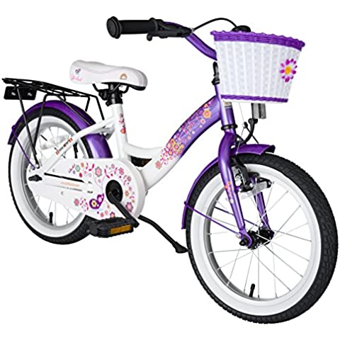 bike*star 40.6cm (16 pulgada) Bicicleta para niños - Clásico - Lila & Blanco