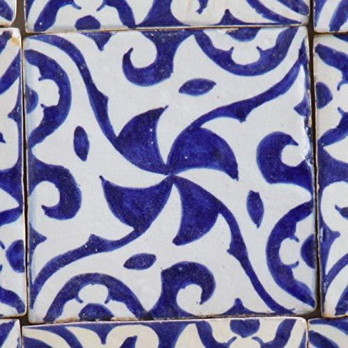 Orientalische Keramikfliese Hiyam blau 10 x 10 cm handbemalte marokkanische Fliese Kunsthandwerk aus Marrakesch Wandfliese für schöne Küche Dusche Badezimmer