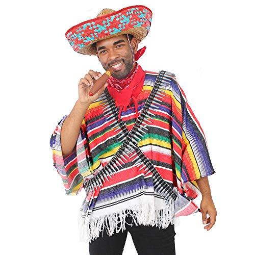 ILOVEFANCYDRESS Disfraz DE Bandido Mexicano para Adultos con Sombrero Rojo, Poncho, Cinturon...